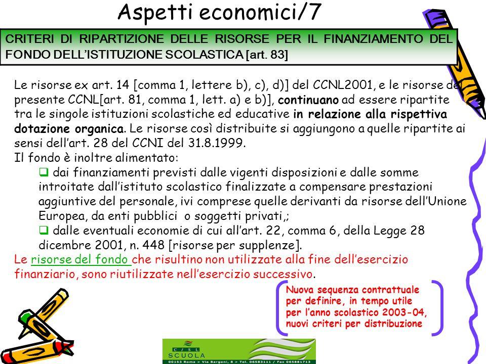 Aspetti economici/7 CRITERI DI RIPARTIZIONE DELLE RISORSE PER IL FINANZIAMENTO DEL FONDO DELL'ISTITUZIONE SCOLASTICA [art. 83]